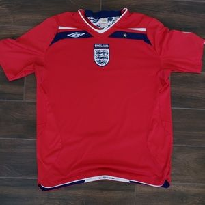 ENGLAND Umbro 2008-2010 World Cup Soccer Red Shirt